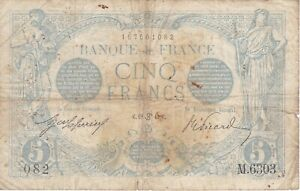 RARE BANKNOTE FRANCE 5 FRANCS YEAR 1915 - DIFFICULT