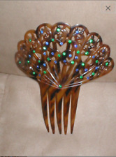 Antique Large Fan Shaped Tortoise Celluloid Peineta Hair Comb with Blue & Green