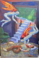 FRANK GUTIERREZ Painting Vintage Chicano Art Surrealism Angels Modernism Dali