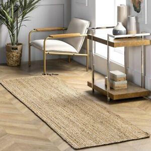 Rug 100% Natural Jute reversible handmade modern living runner rug outdoor rug