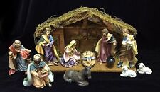 Porcelain Hand Painted Christmas Nativity 11 piece Set w/Stable Creche Home Gift