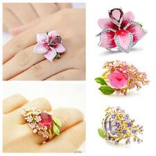 925 Silver Enamel Blossom Flower White Topaz Ring Women Wedding Jewelry Gift