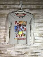 Justice Girls Gray Girls Can Do Any Thing Shirt Size 14 Long Sleeve Motivational
