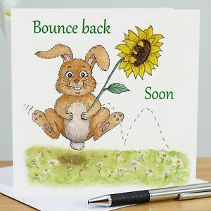Bounce Back Soon card, Get Well Soon bunny & sunflower square blank card