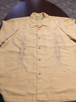 Cubavera Mens Yellow Rayon Embroidered Summer Button Up Shirt Large L
