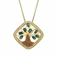 Crystaluxe Tree of Life Pendant w/ Swarovski Crystals 18K Gold Sterling Silver