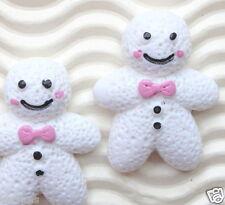 "10 pcs x (1 1/8"") Resin Snowman/Gingerbread Man Christmas Flatbacks w/Bow SB418W"