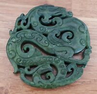 Chinese green jade / nephrite vintage Victorian oriental antique dragon pendant