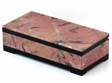 """Russian Rhodonite and Dolerite Stone Casket Hand Carved Jewelry Storage Box 5.3"""""""