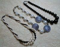 VINTAGE TO NOW ASSORTED BLACK & WHITE FAUX PEARL & LUCITE BEADED NECKLACE LOT