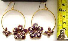 74mm gold col purple diamante sparkle flower butterfly Big drop hoop earrings