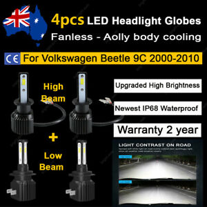 For Volkswagen Beetle 9C 2000-2010 4x Headlight Globes High Low Beam LED Bulb A2