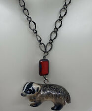 BADGER ARTISAN NECKLACE: Cute Porcelain Badger With Red Art Glass On Chain