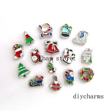 10pcs FC1107 Mix Style Christmas Floating Charms Fit Living Locket Free Shipping