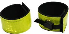 Pair of YELLOW Reflective Leg Bands w/ Velcro & Buckle Closures NEW HORSE TACK!