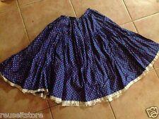 Square Dance Skirt Irene Kasmer Blue Floral Small VTG swing dancing rockabilly