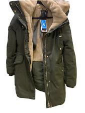 BNWT ZARA Green Winter Coat with Faux Fur Size L