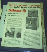 Northwestern 49 Bulk Vender Machine ad Sheet NOS 1950's NICE PIC INFO two side