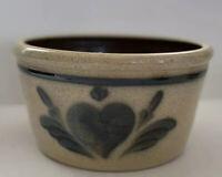 Vintage Shadow Lawn Stoneware Pottery Delaven Wisconsin Tan & Blue