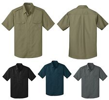 MENS MILITARY INSPIRED, STAIN RESISTANT, SHORT SLEEVE, TWILL SHIRT POCKET XS-4XL