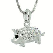"W Swarovski Crystal Pig PIGLET Piggy Luck Symbol Pendant Necklace 18"" Chain"