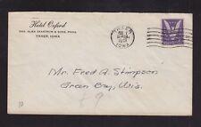 USA 1915 HOTEL OXFORD CORNER CARD COVER TRAER IOWA TO GREEN BAY WISCONSIN