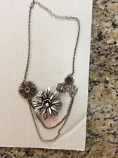 VINTAGE NECKLACE SILVER RHINESTONE PEARL FLOWER EUC