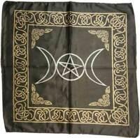 "Black Triple Moon Pentagram Altar Cloth 21"" X 21"" 100% Satin"