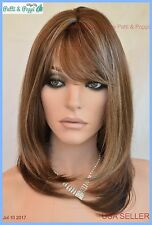 Skin Top Medium Length Wig Beveled layers w/Bangs Color SH24.8 Blond USA Seller