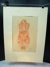 Girl Hunched Reading Book Original Red Pencil 1950 by C. Schattauer Kelm