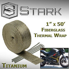 "1"" x 50' Ft Motorcycle Header Exhaust Heat Wrap Fiberglass Manifold Titanium (A)"