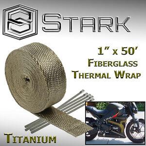 "1"" x 50' Ft Motorcycle Header Exhaust Heat Wrap Fiberglass Manifold Titanium (A)"