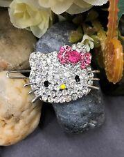 new silver tone hellokitty rhinestone crystal bobby pin hair clip