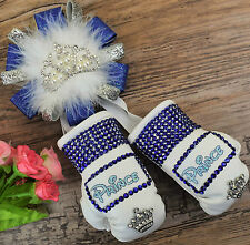 Stunning sparkly boxing gloves pram charm in royal with bling rhinestones