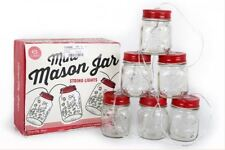 set of 6 vintage retro style utility mason LED fairy xmas glass jar tree lights
