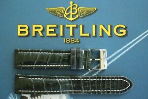 BREITLING 20-18 UNK# DK GREEN CROCODILE TONGUE BUCKLE WATCH BAND WATCHBAND STRAP