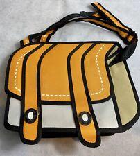 3D Drawing Comic Cartoon Satchel Shoulder Bag Smart Cool Girl Laptop Orange