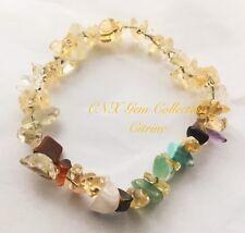 Gemstone Crystal Citrine ChipStone Chakra Bracelet Gemini Virgo Aug Sep B