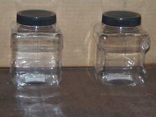 2 Tool Shop 16 oz Clear Plastic Storage Jars - Black Lids    (TPO-1  BLACK)