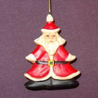 "Santa Claus Ornament Shape of Christmas Tree 2"" Ceramic"