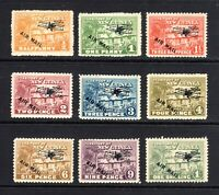1931 Territory of NEW GUINEA -  VILLIAGE with AIR MAIL OPTD - SET of 9 - MINT