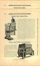 1910 PAPER AD Miller Double Box Cotton Press Centinniel The Georgia Gin