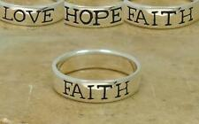 UNIQUE STERLING SILVER LOVE HOPE FAITH BAND RING size 10  style# r1517