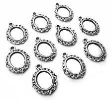10 x Quality Mini Silver Oval Cabochon/Cameo Setting Frame Charms, 10mm x 8mm