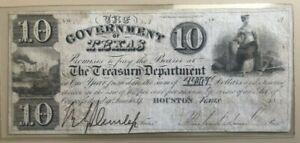 1838 Government / Republic of Texas $10 ten dollar note Mirabeau Lamar signature