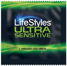 LIFESTYLES ULTRA SENSITIVE CONDOMS LATEX LUBRICATED CONDOM- PACK OF 12-1000