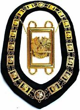 Masonic Regalia 32 Degree WINGS DOWN Metal Chain Collar BLACK Backing DMR1400GBK