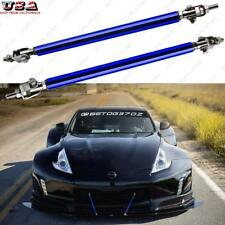Blue Adjustable Bumper Lip Splitter Rod Strut Tie Bar Support For Nissan Ford
