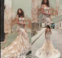Gorgeous 2018 Berta Mermaid Wedding Dresses Champagne Lace Applique Sexy