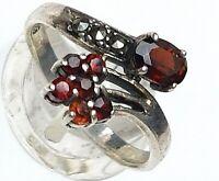Jugendstil Silber Ring 925 punziert Markasiten & Granate RG 55/17,5mm / A659